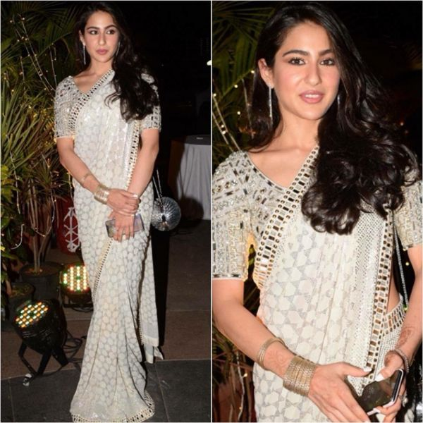 Are White Sarees A New Trend? 10 Bollywood Celebs Show Us ...Sara Ali Khan In Saree