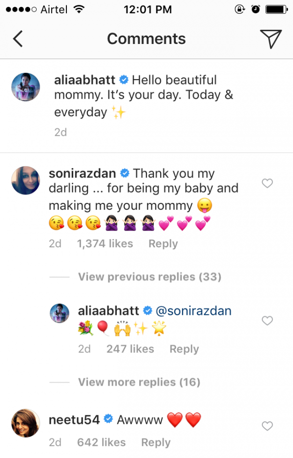 Neetu kapoor and soni razdan's comment on Alia bhatt's instagram post