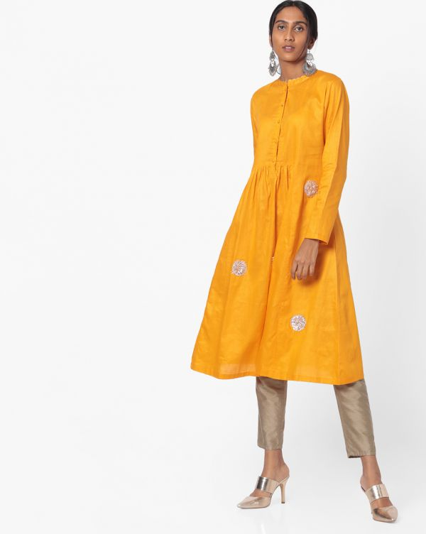 mustard gota work kurta discounted kurtas look cool with jeans