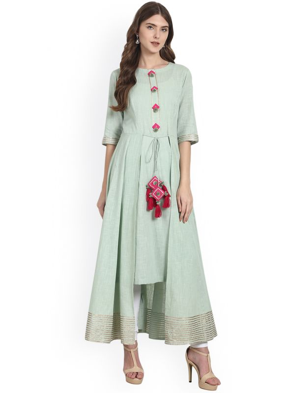 nayo green kurta with tassels discounted kurtas look cool with jeans