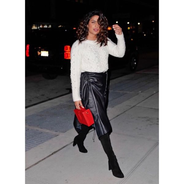 18 priyanka chopra - black thigh high boots