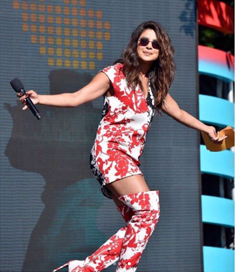 19 priyanka chopra - red printed boots