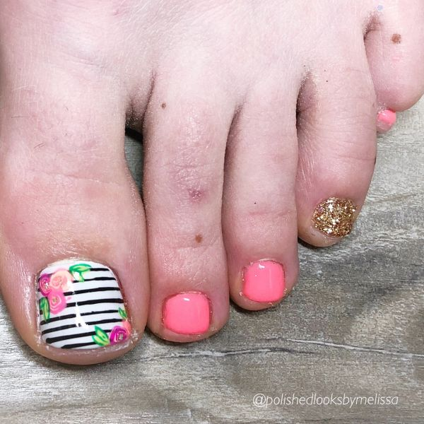 2 toe nail art summer instragram vintage floral stripes