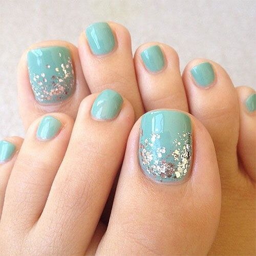 7 toe nail art summer instragram glitter raindrop
