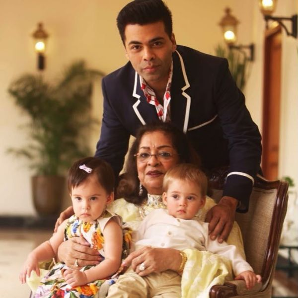 Karan johar with his mom and kids