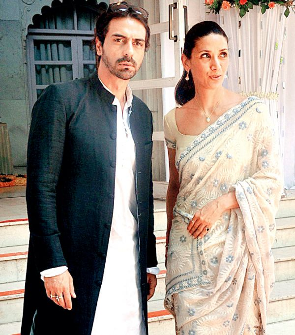 arjun rampal and mehr jessia at a wedding