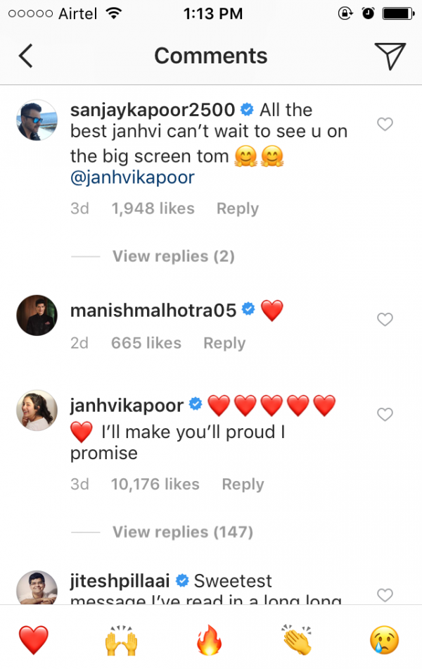 Janhvi Kapoor's comment on Arjun Kapoor's Dhadak Picture