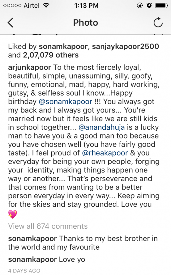 Sonam Kapoor's comment on Arjun Kapoor's Post