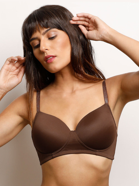 10 lingerie - Zivame Brown Solid Non-Wired Lightly Padded T-shirt Bra