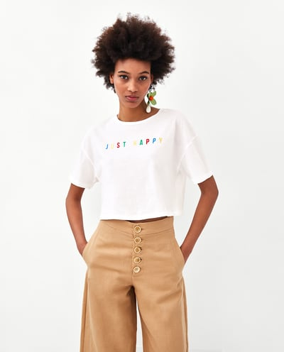 4.1 zara - CROPPED T-SHIRT WITH SLOGAN