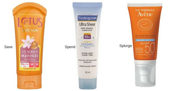 save spend splurge sunscreens internal lotus neutrogena avene