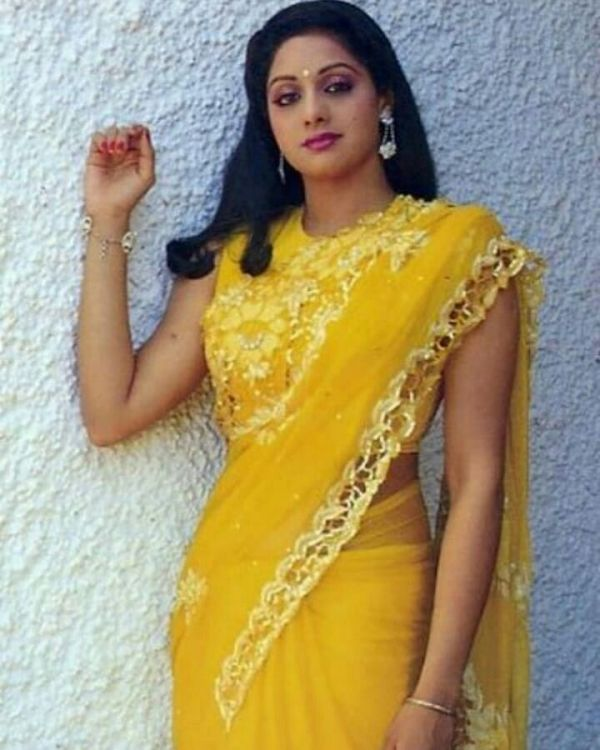 sridevi in yellow saree janhvi new look sridevi