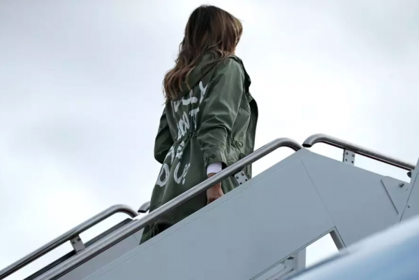 melania boarding melania trump's Zara jacket to detention center causes outrage