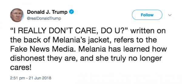 trump tweet melania trump's Zara jacket to detention center causes outrage