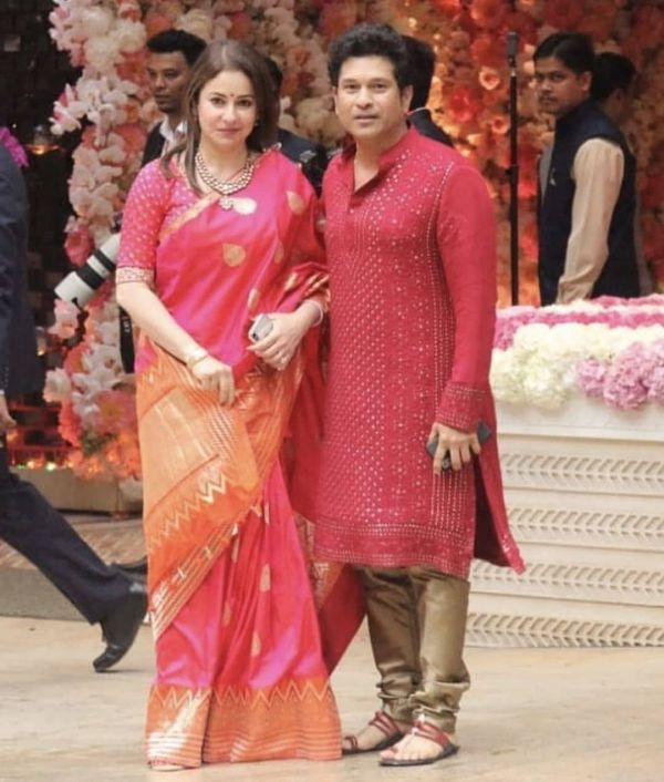 Anjali and sachin tendulkar at ambani's pre-engagement bash