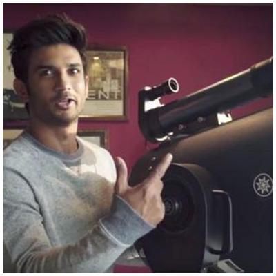 Sushant with telescope for new movie