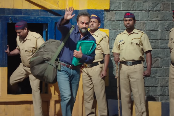 ranbir kapoor coming out the jail as sanjay dutt in sanju