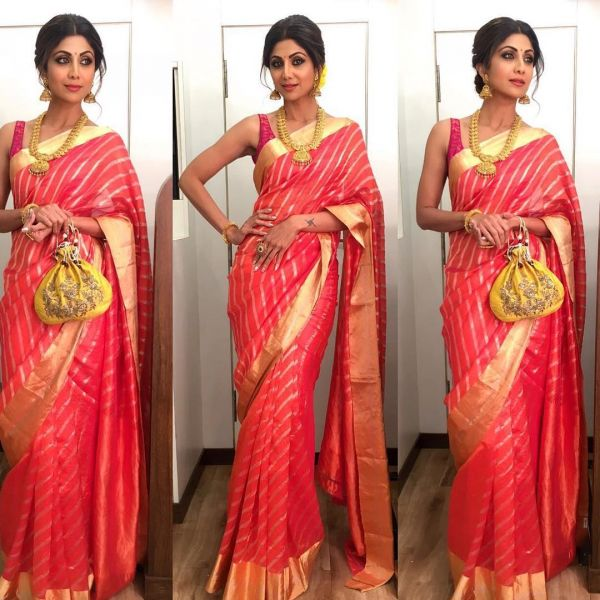 2 shilpa shetty technicolour sarees