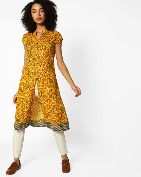 11 college - Floral Print Kurta with Front Slit