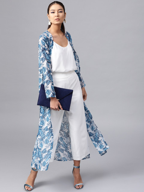 14 college - White   Blue Printed Sheer Open Front Longline Shrug
