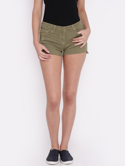 1 college - Ginger by Lifestyle Women Khaki Solid Regular Fit Denim Shorts