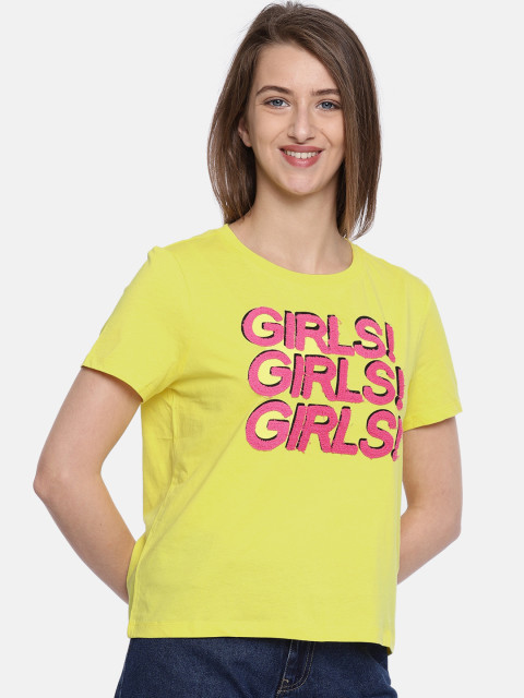 2 college - ONLY Women Yellow Printed Round Neck T-shirt