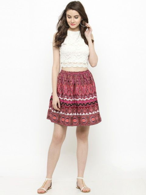5 college - Sera Women Pink Printed Skirt