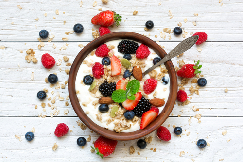 probiotics  prebiotics  benefits  glowing  skin  dietary internal bowl of granola breakfast