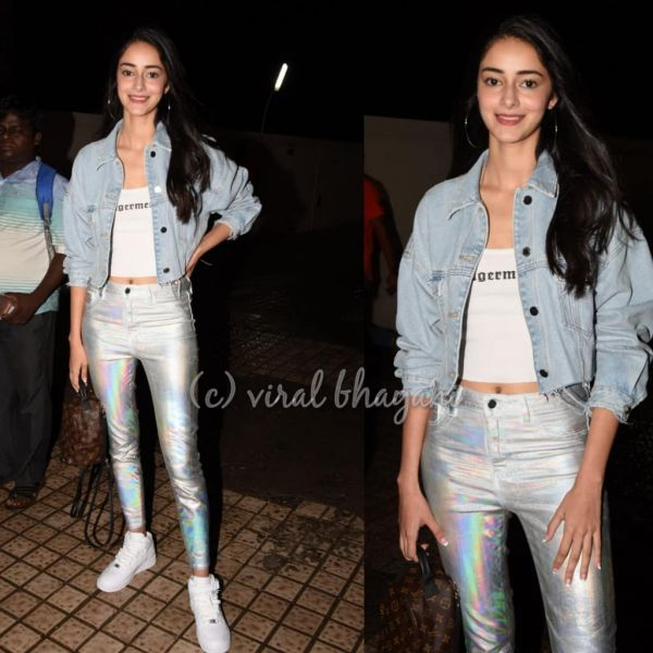 10 white t-shirt - ananya panday holographic jeans