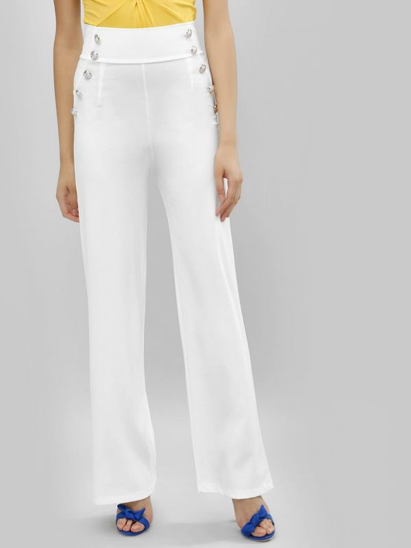 3 ananya panday - white Botton Front Palazzo Trousers