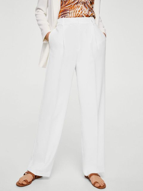 4 ananya panday - MANGO Women White Regular Fit Solid Trousers