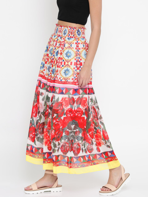 5 janhvi kapoor - Splash Multicoloured Maxi Printed Skirt