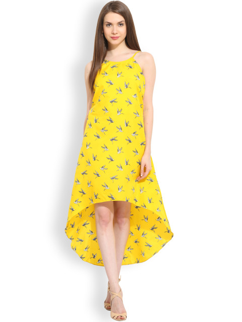 6 priya prakash varrier - TRENDY DIVVA Women Yellow Printed A-line Dress