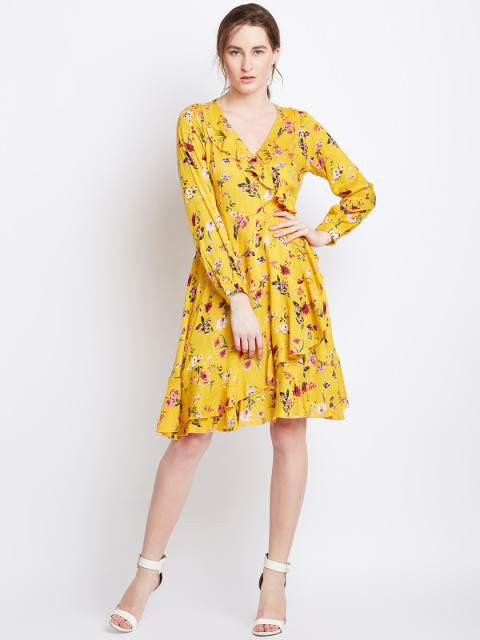 8 priya prakash varrier - Berrylush Women Yellow Printed Fit and Flare Dress