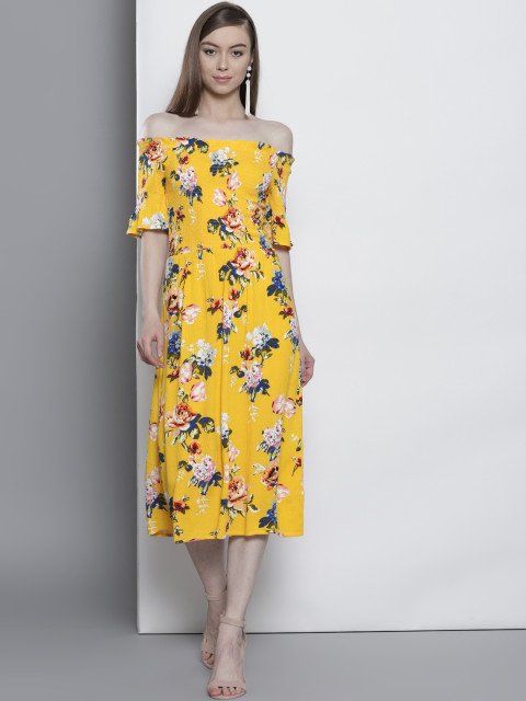9 priya prakash varrier - DOROTHY PERKINS Women Yellow Floral Print Bardot Fit and Flare Dress
