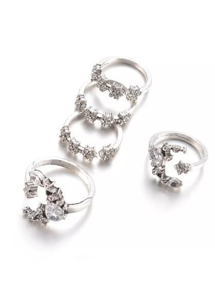 4 romwe rings sparkly jewellery diamond