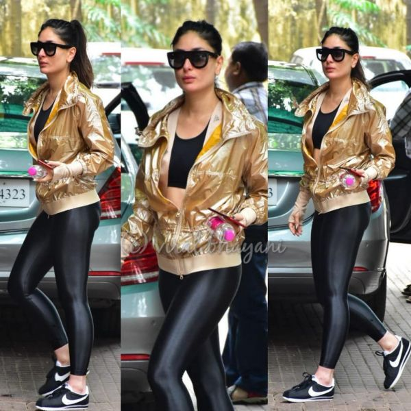 1 kareena kapoor khan - golden jacket to gym