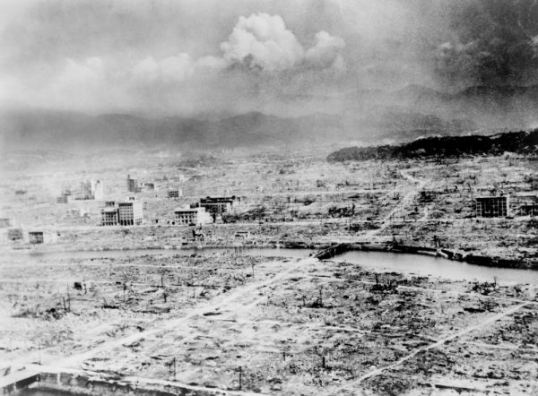 Atomic bomb. Hiroshima  Japan after the atomic bomb was dropped by the US bomber %22Enola Gay%22  1945