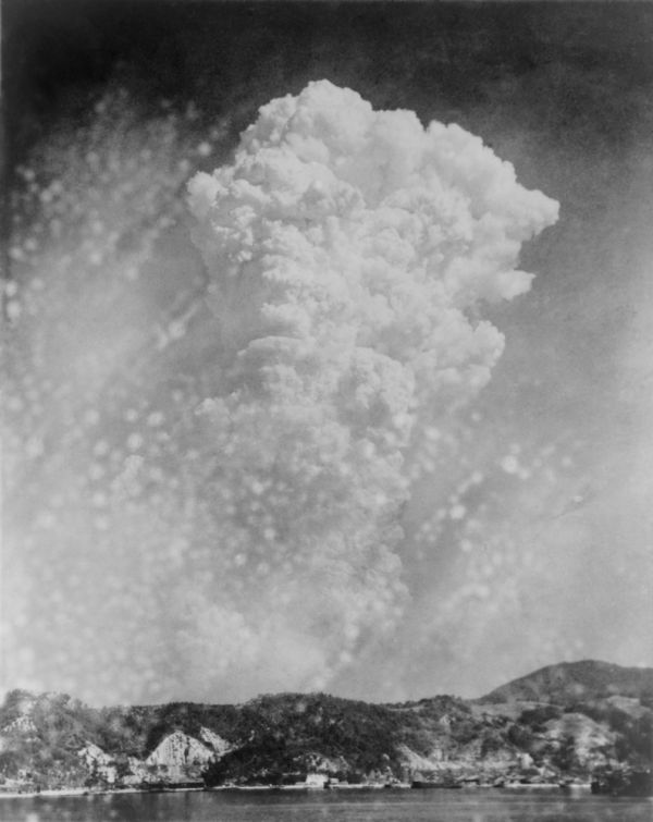 Photo of Hiroshima bomb explosion from a photo taken in Kure  Japan. August 6  1945
