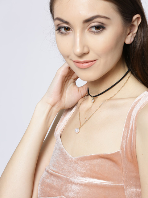 3 necklace - OOMPH Black   Gold-Toned Metal Layered Necklace