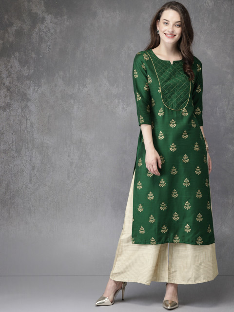 4 suit sets - Anouk Women Green   Beige Printed Kurta with Palazzos