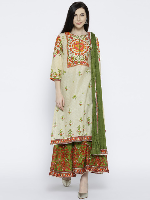 7 suit sets - Biba Women Beige   Green Printed Kurta with Palazzos   Dupatta