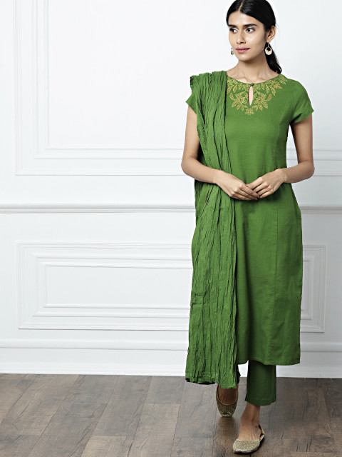 9 suit sets - all about you from Deepika Padukone Green Embroidered Kurta with Trousers   Dupatta