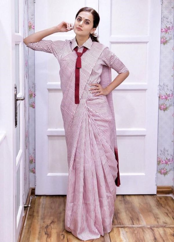 taapsee uniform saree 1