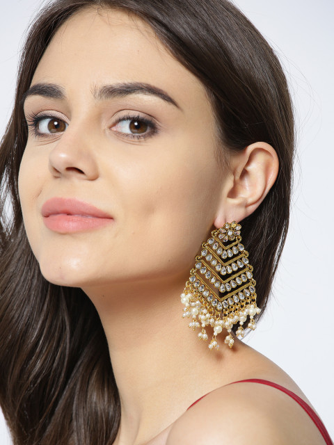5 shraddha kapoor - PANASH Gold-Toned   Off-White Gold-Plated Kundan Classic Drop Earrings
