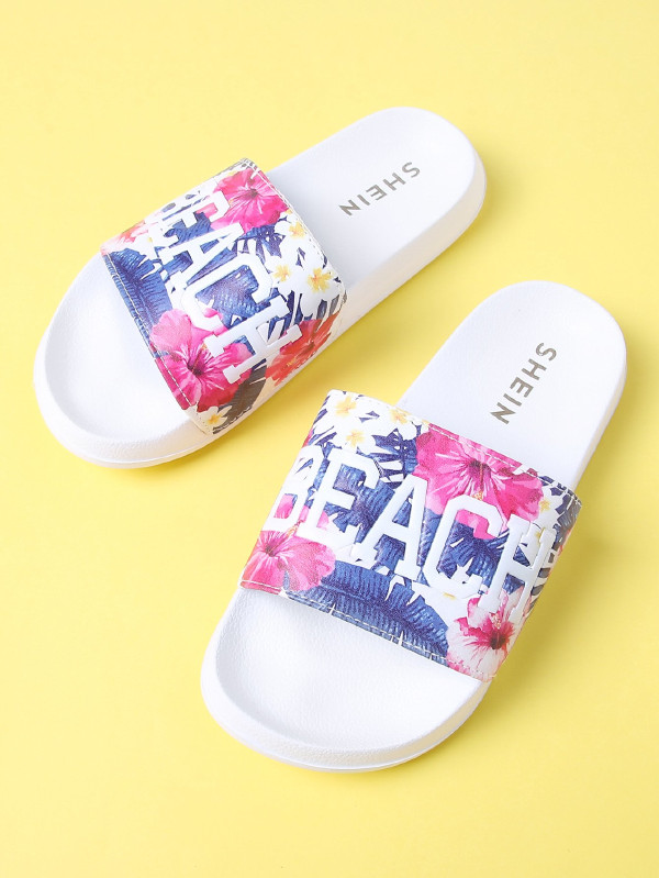 2 gifts - Flower Print Flat Slippers