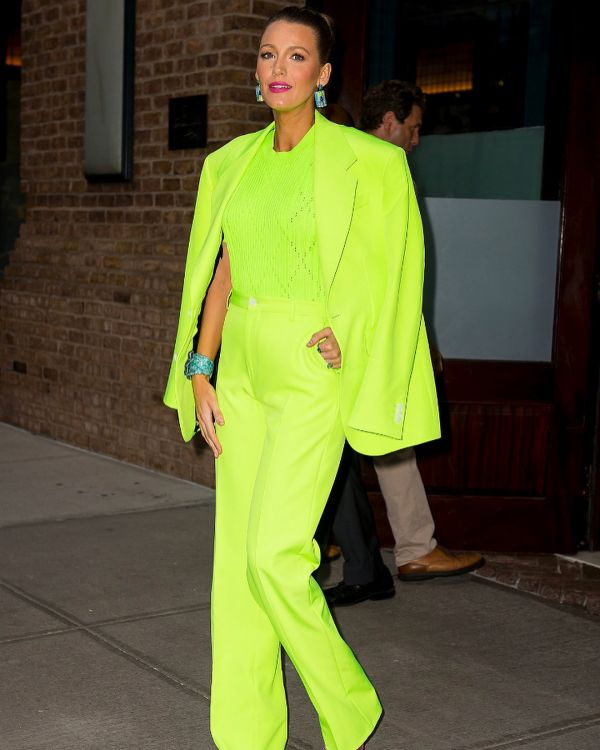 3 versace blake lively pantsuits