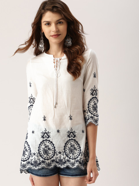 2 tunics - all about you from Deepika Padukone Women White Self Design Top