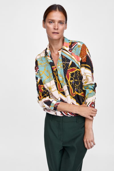 7 zara - CHAIN PATCHWORK PRINT BLOUSE