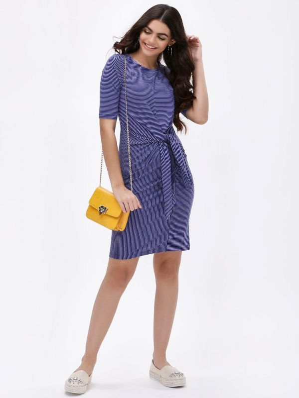 3 mira kapoor - Striped Knot Front Knit Dress